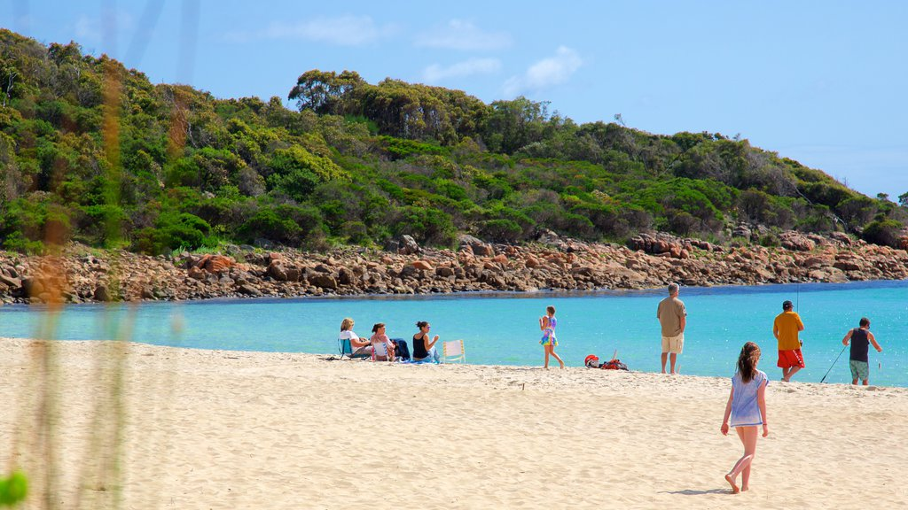 Naturaliste showing rugged coastline and a sandy beach as well as a small group of people