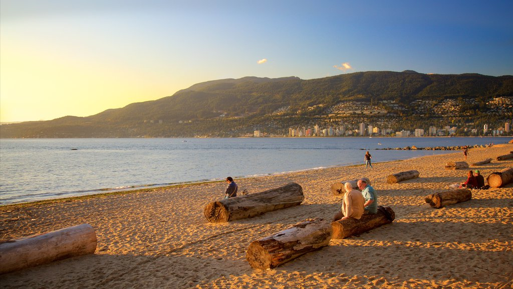 Stanley Park showing a sandy beach as well as a small group of people