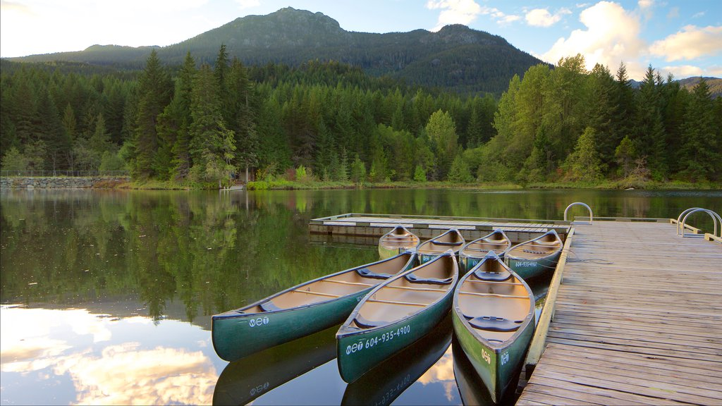 Whistler Ski Area which includes a lake or waterhole, kayaking or canoeing and forest scenes