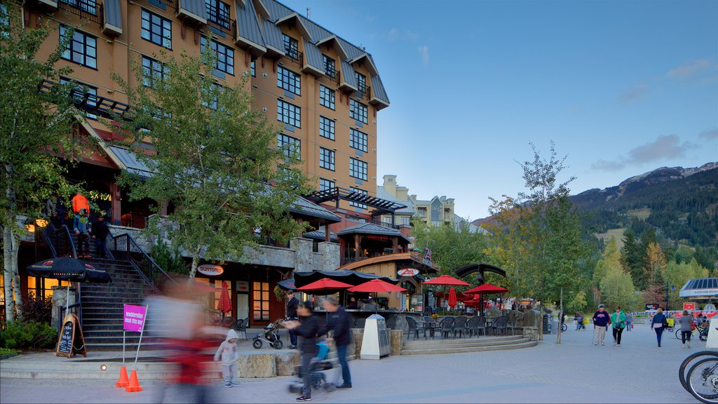 Whistler Blackcomb Ski Resort which includes a square or plaza and a luxury hotel or resort
