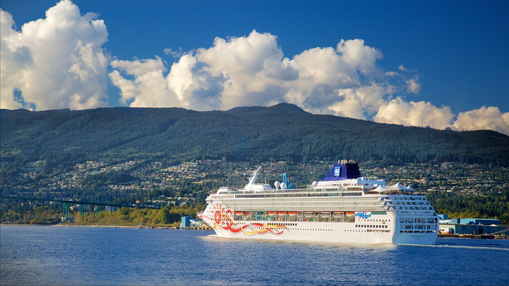 Stanley Park featuring cruising, mountains and a bay or harbor