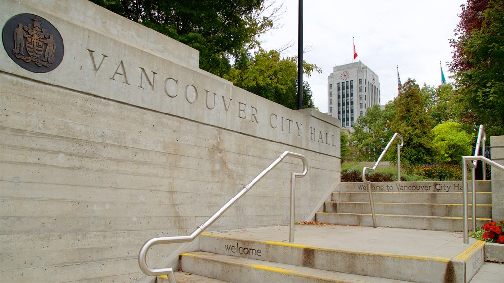 Vancouver which includes a garden, an administrative buidling and signage