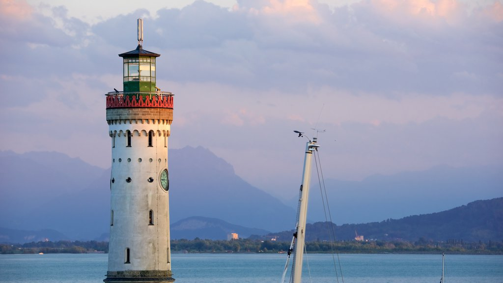 Baden-Wuerttemberg featuring a bay or harbor, a lighthouse and mountains
