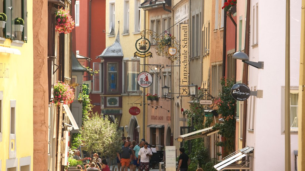 Lindau showing a small town or village, street scenes and signage