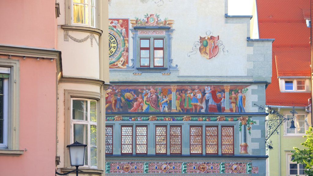 Lindau which includes a small town or village and art