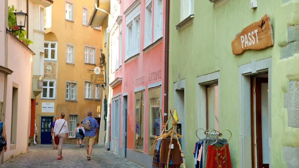 Lindau which includes a small town or village and street scenes as well as a small group of people