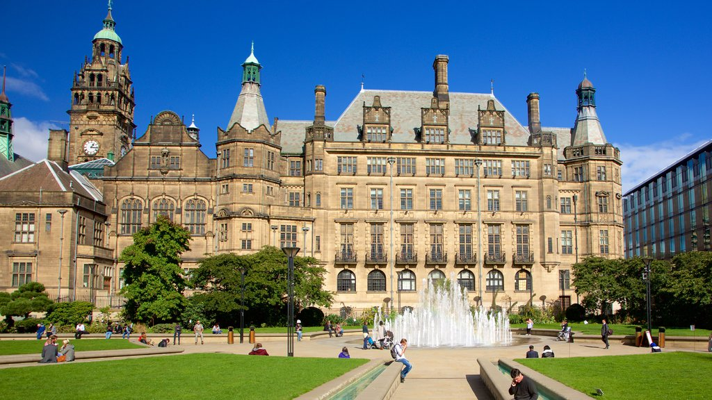 Sheffield showing heritage architecture, a fountain and a garden