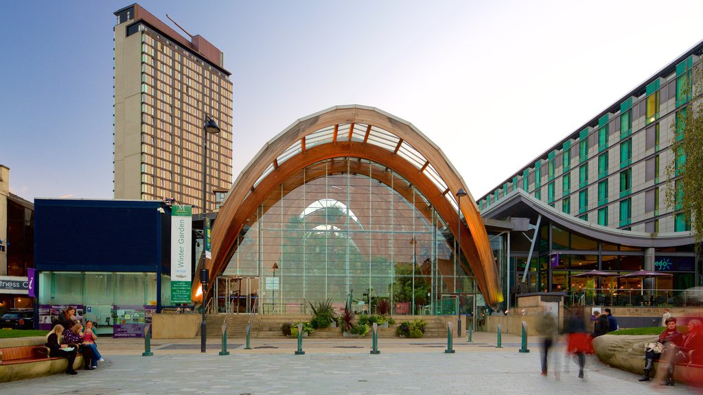 Sheffield Winter Garden featuring modern architecture, a city and a park