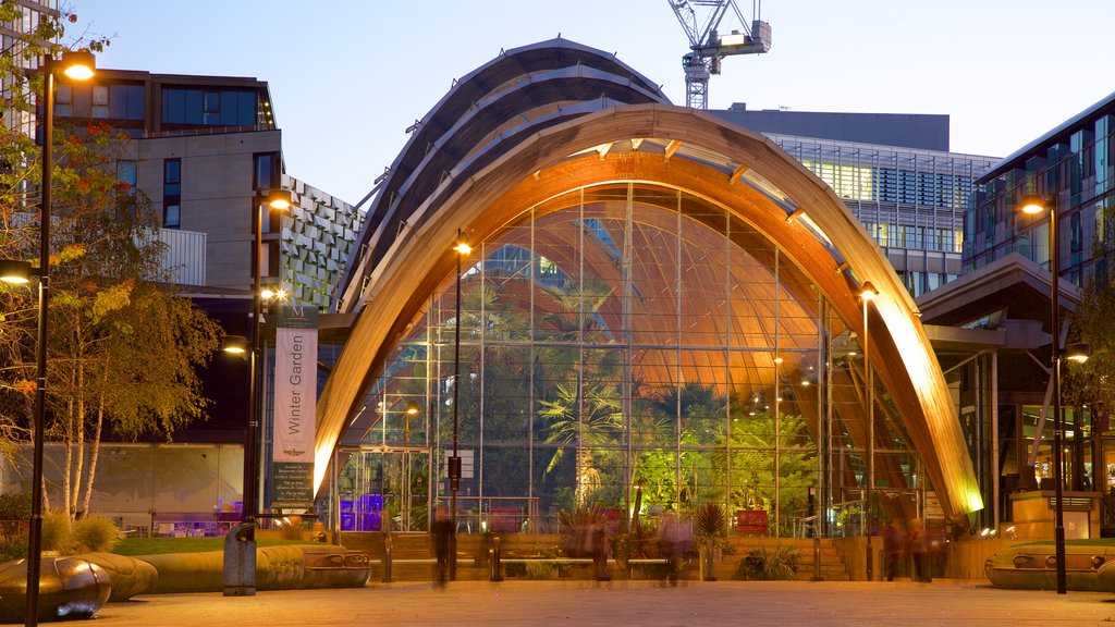 Sheffield Winter Garden which includes a city, modern architecture and night scenes