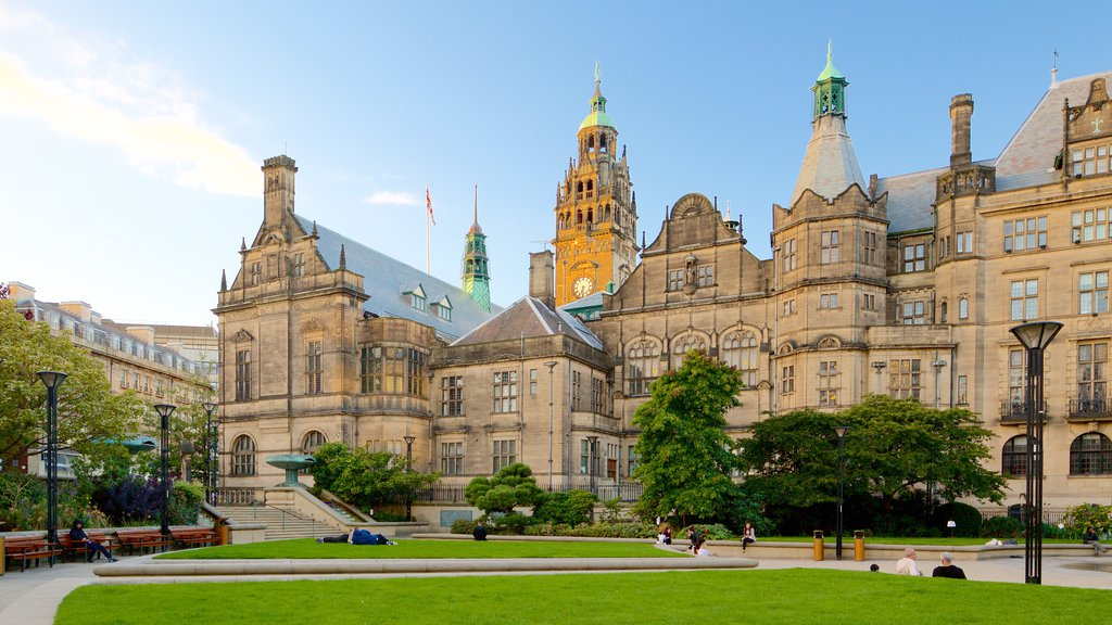 Sheffield Town Hall showing a park, an administrative buidling and heritage architecture