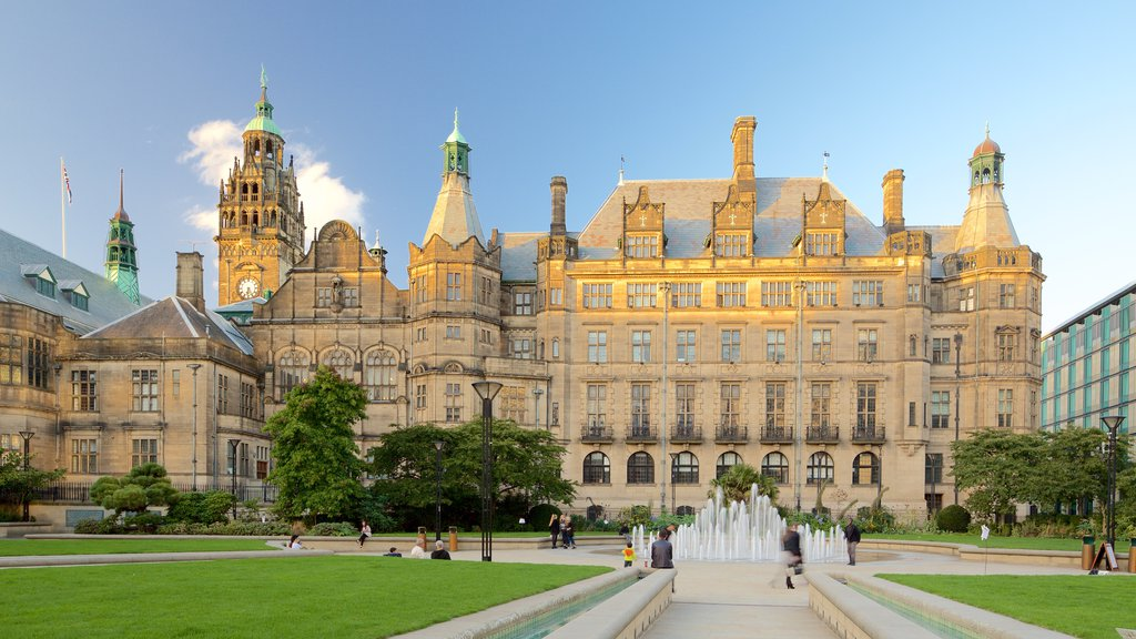 Sheffield Town Hall featuring a park, a fountain and heritage architecture