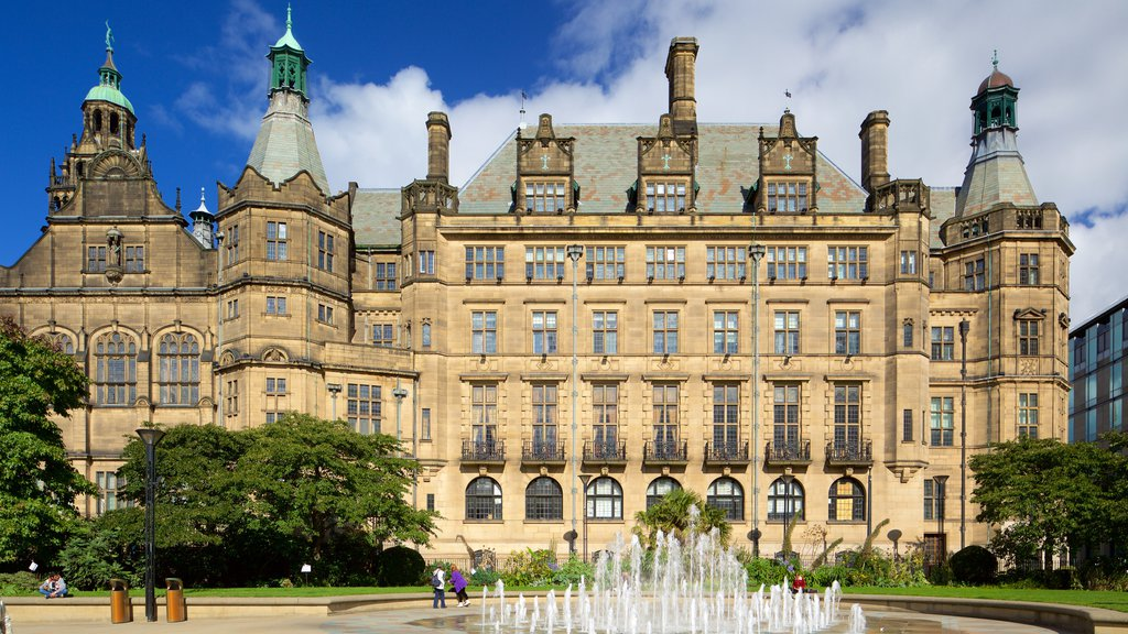 Sheffield Town Hall which includes an administrative buidling, a fountain and heritage architecture