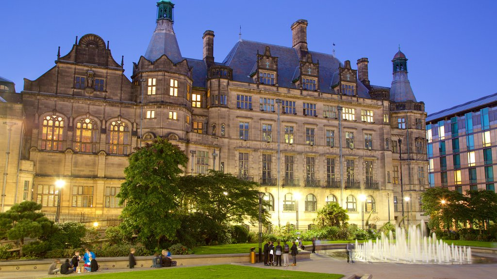 Sheffield Town Hall which includes night scenes, heritage architecture and an administrative buidling