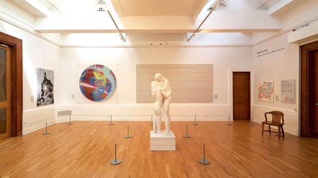Graves Art Gallery showing art, interior views and a statue or sculpture