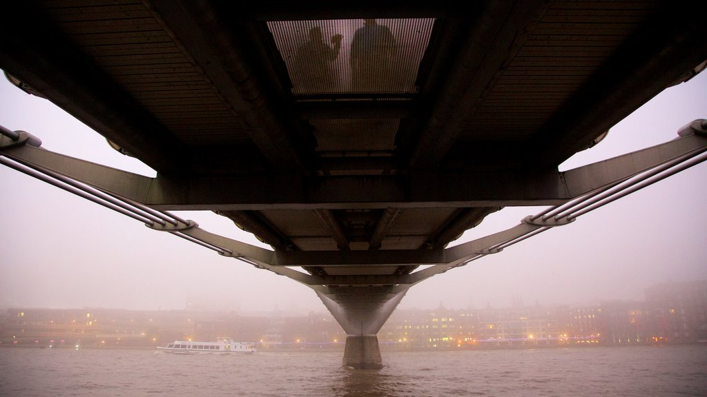 London Millennium Footbridge featuring mist or fog, a river or creek and a bridge