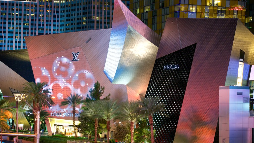 Las Vegas featuring night scenes, modern architecture and signage