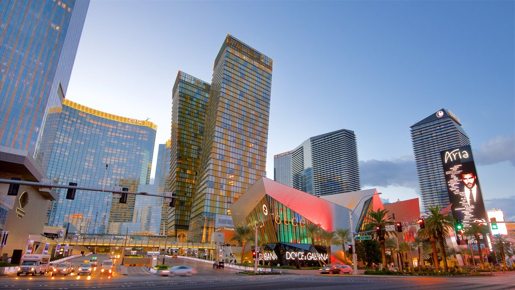 Las Vegas showing signage, street scenes and a sunset