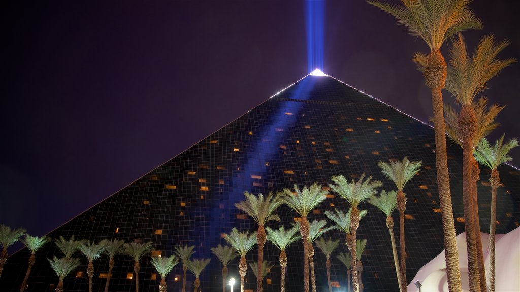 Casino at Luxor Las Vegas which includes night scenes and modern architecture