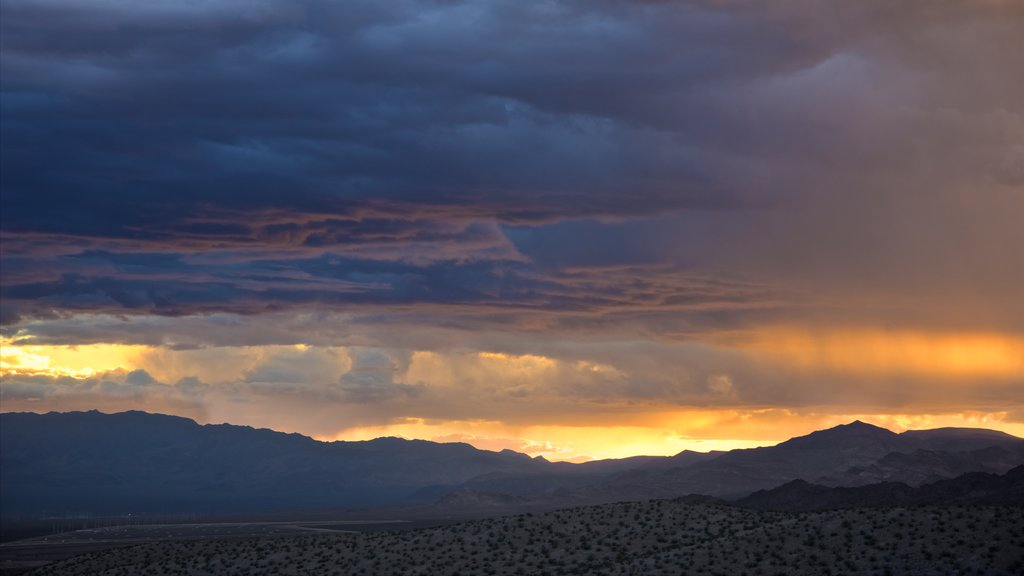 Nevada showing a sunset, northern lights and desert views