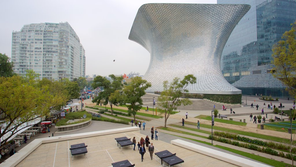 Mexico City showing modern architecture, a city and a garden