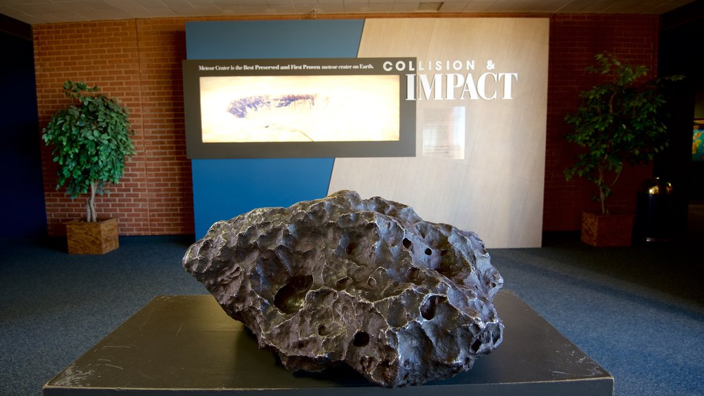 Meteor Crater which includes signage and interior views