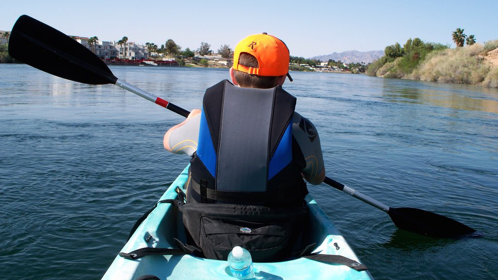 Bullhead City showing kayaking or canoeing and a river or creek as well as an individual child
