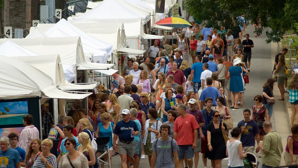 State College featuring markets as well as a large group of people