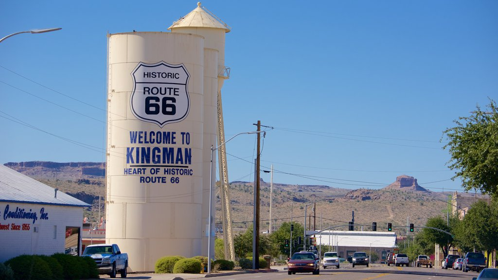 Kingman featuring signage, tranquil scenes and street scenes
