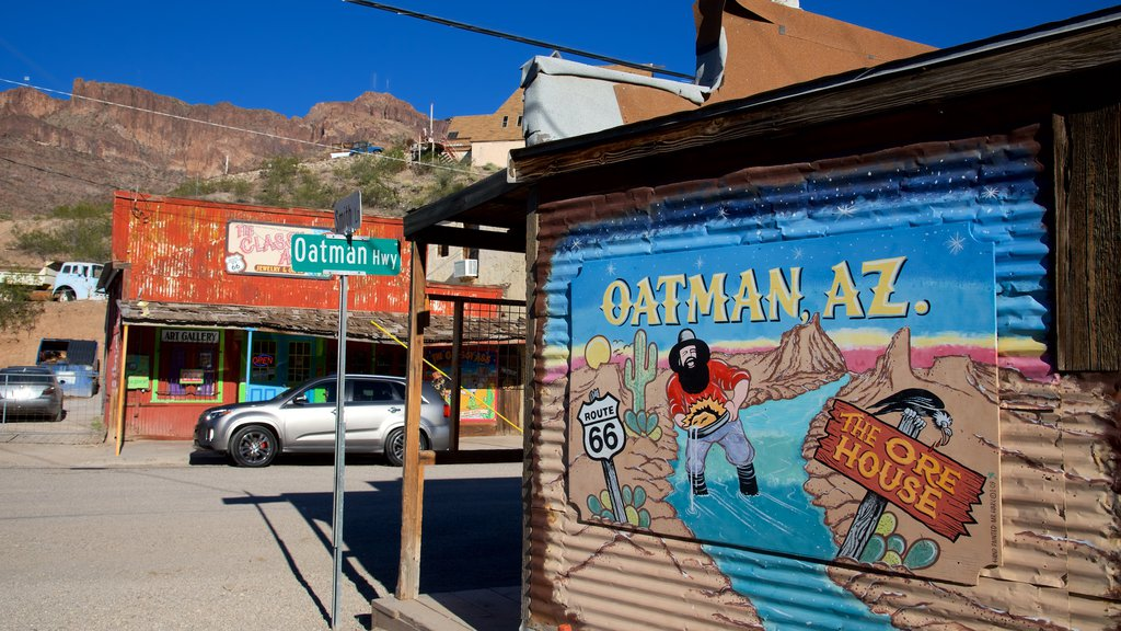 Oatman showing signage and outdoor art