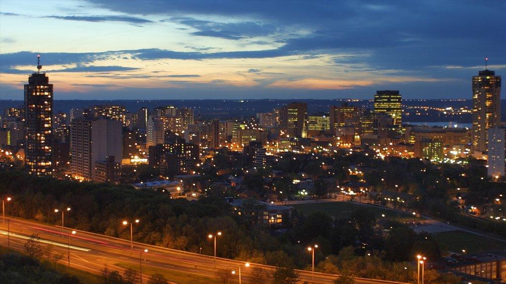 Hamilton which includes landscape views, a city and night scenes