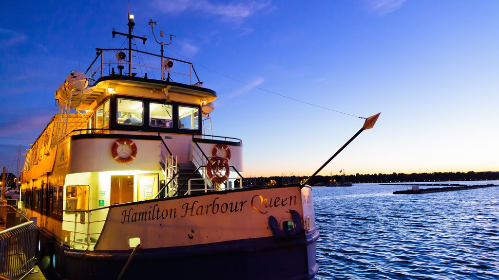 Hamilton which includes general coastal views, boating and night scenes