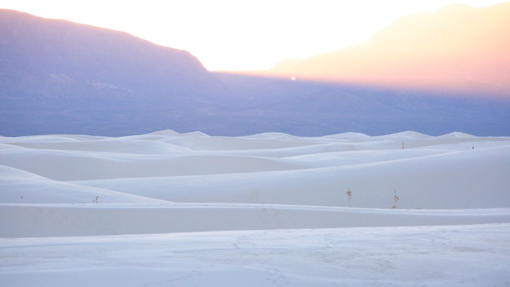 White Sands National Monument showing mountains, a sunset and a beach