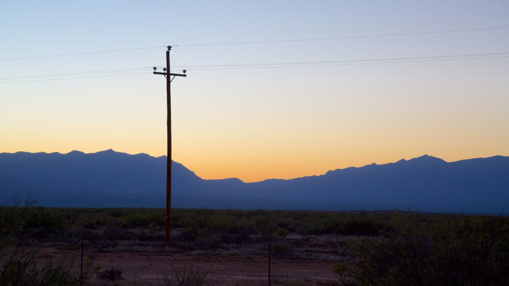 White Sands Missile Range showing a sunset and farmland
