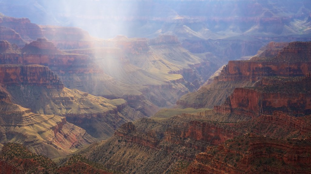 Bright Angel Trailhead showing tranquil scenes and a gorge or canyon