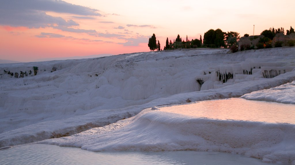 Turkey showing snow and a sunset