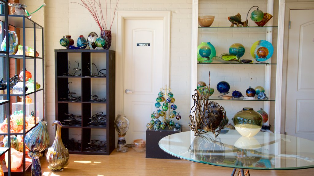 Jennifer Sears Glass Art Studio showing interior views, art and shopping