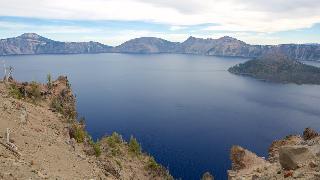 Crater Lake National Park featuring a lake or waterhole and landscape views