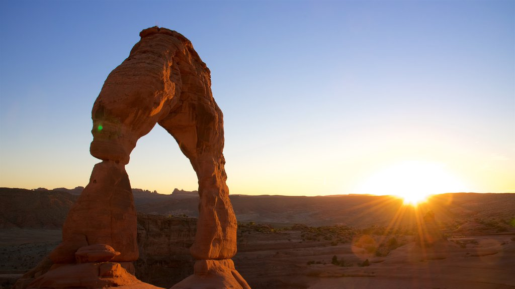 Moab featuring a sunset and tranquil scenes