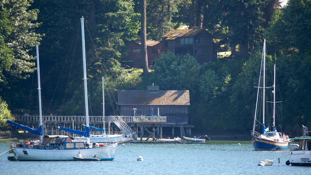 Bainbridge Island featuring a bay or harbor, forests and sailing