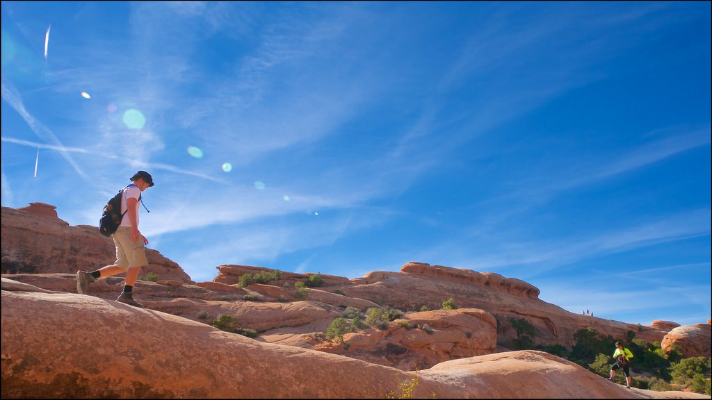 Moab featuring desert views, tranquil scenes and hiking or walking