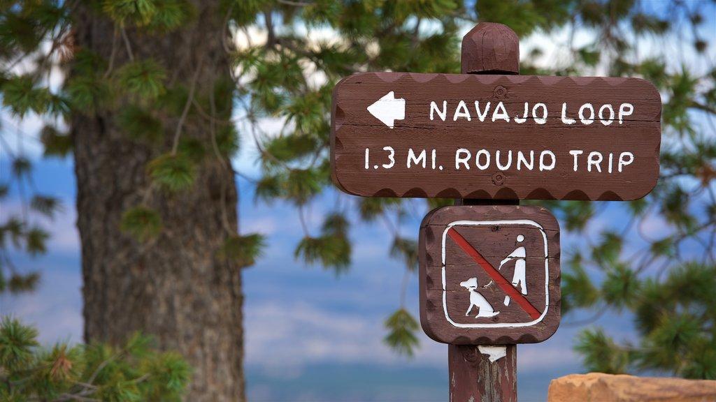 Bryce Canyon National Park ofreciendo señalización