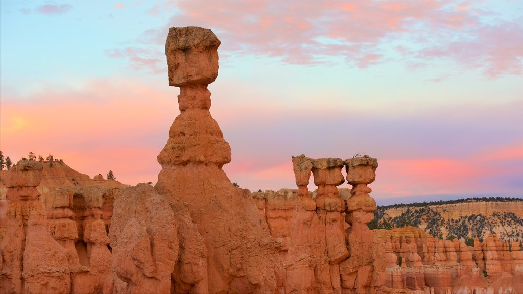 Bryce Canyon National Park featuring a gorge or canyon, desert views and a sunset