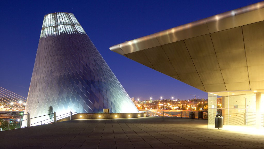 Museum of Glass featuring modern architecture, night scenes and a city