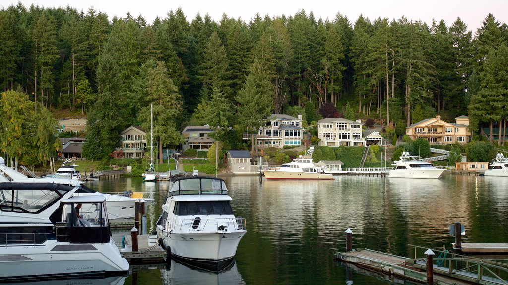 Gig Harbor showing forest scenes, a marina and a bay or harbor