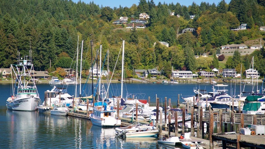 Gig Harbor showing a marina, a coastal town and a bay or harbor