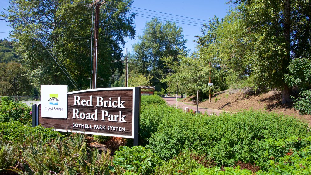 Bothell showing signage and a park
