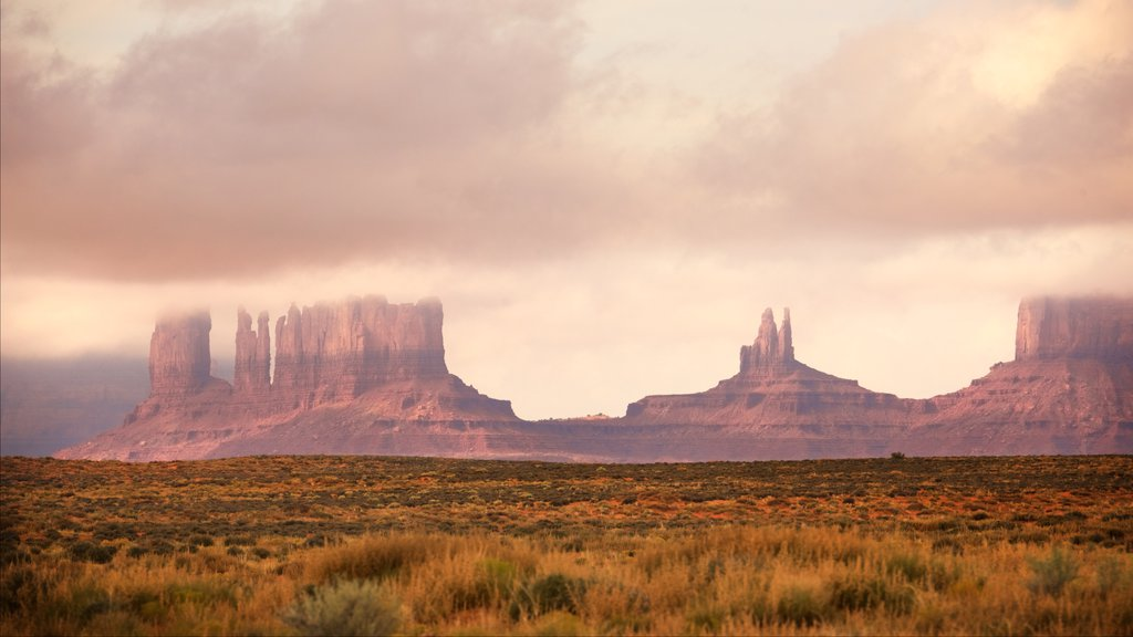 Monument Valley showing a gorge or canyon, landscape views and tranquil scenes