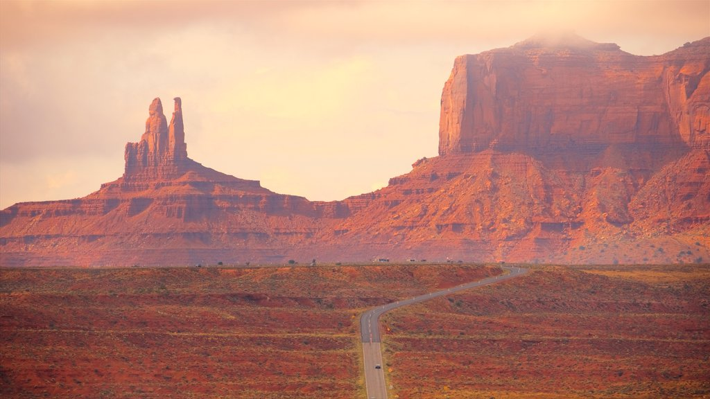 Monument Valley which includes a gorge or canyon, landscape views and tranquil scenes