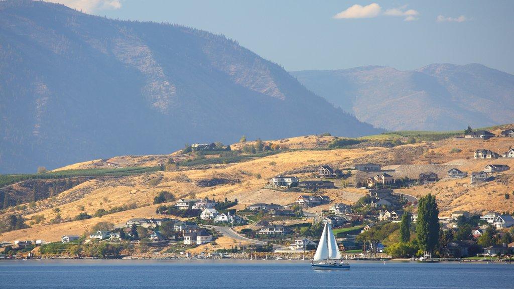 Lake Chelan showing general coastal views, a coastal town and sailing