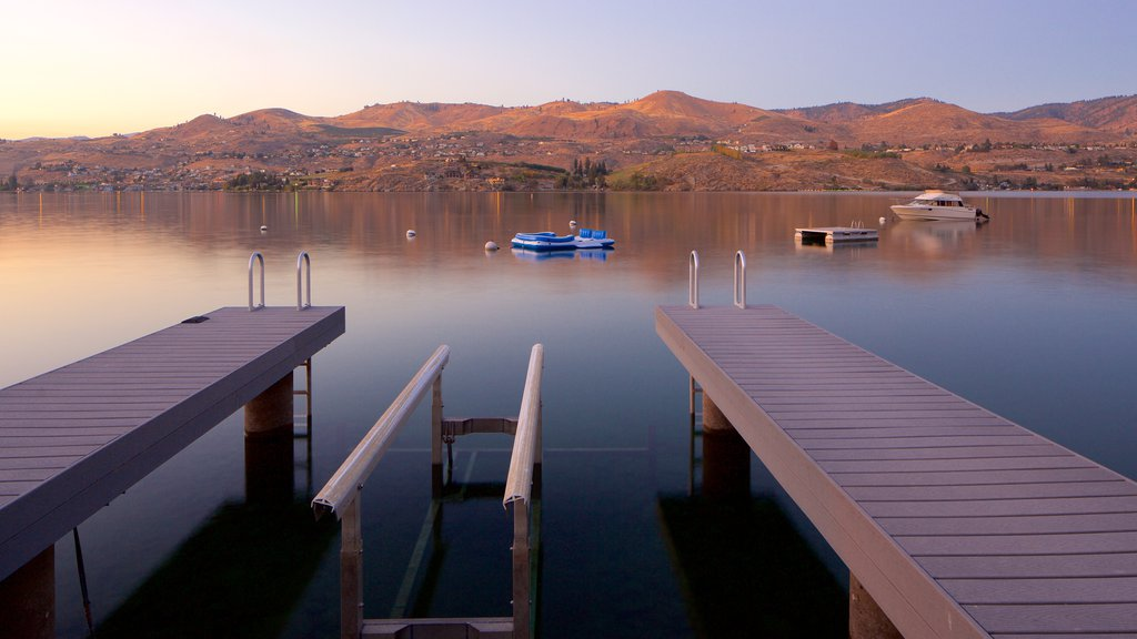 Lake Chelan featuring tranquil scenes, a lake or waterhole and a sunset